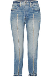 FRAME Le Original zip-embellished frayed high-rise straight-leg jeans