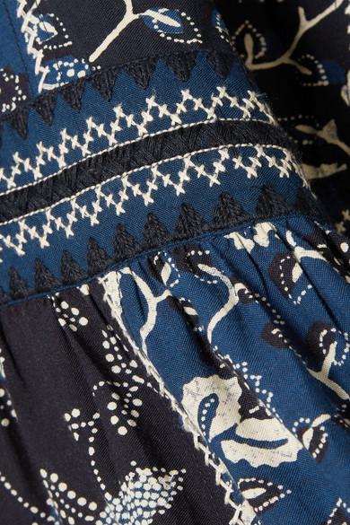 Ulla Johnson Iona besticktes Midikleid aus einer bedruckten Baumwollmischung