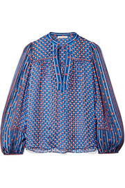 Constance printed silk-jacquard blouse