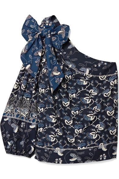 Ulla Johnson Asima besticktes Oberteil aus einer bedruckten Baumwollmischung mit asymmetrischer Schulterpartie