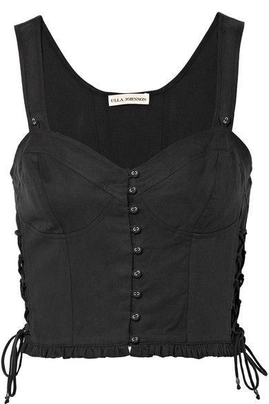 Thea Lace-up Twill Bustier Top - Black Ulla Johnson Outlet Pay With Visa eque7C