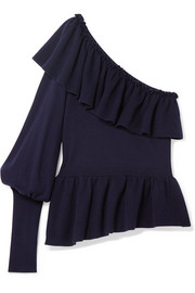 Eden ruffled one-shoulder cotton and cashmere-blend sweater