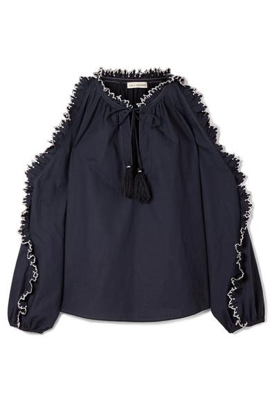 Ulla Johnson Amandine bestickte Bluse aus Baumwollpopeline mit Cut-outs