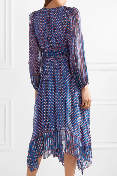 Ulla Johnson Amabelle asymmetrisches Kleid aus bedrucktem Seiden-Jacquard