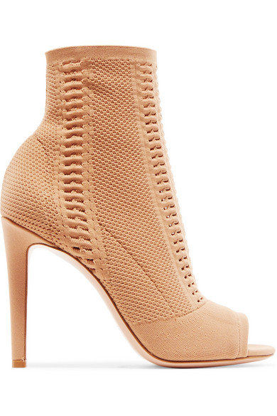 Gianvito Rossi Vires 105 Ankle Boots aus perforiertem Stretch-Strick mit Peeptoe