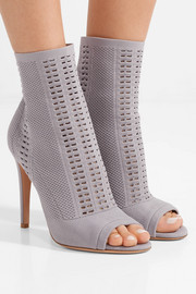 Gianvito Rossi Vires 105 peep-toe perforated stretch-knit ankle boots