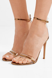 Portofino 100 PVC-trimmed metallic leather sandals