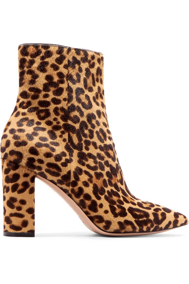 Gianvito Rossi Ankle Boots Made Of Calf Hair With Leopard Print