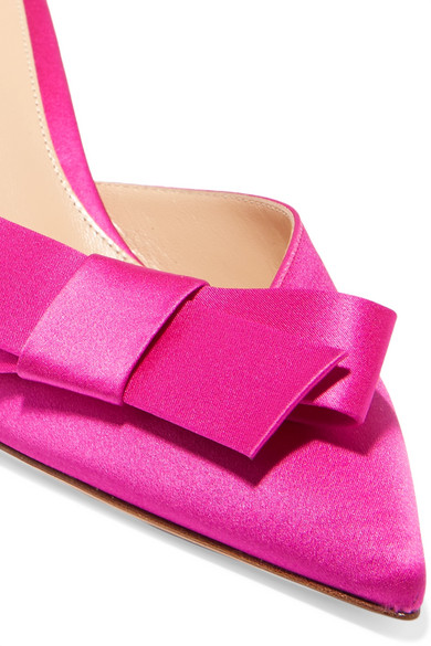 Gianvito Rossi Mules From Satin With Ribbon Decoration