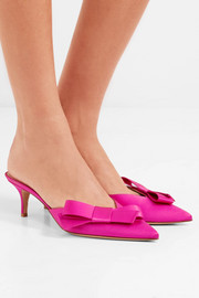 Gianvito Rossi Bow-embellished satin mules