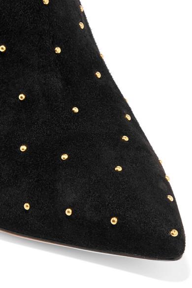 Gianvito Rossi Tyler 100 Ankle Boots aus Veloursleder mit Nieten