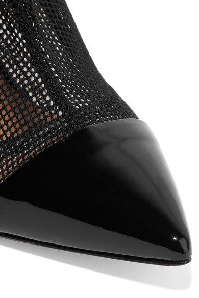 Gianvito Rossi 100 Ankle Boots aus Mesh und Lackleder