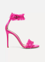Gianvito Rossi Portofino 105 frayed satin sandals