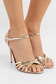 Gianvito Rossi Two-tone metallic leather sandals