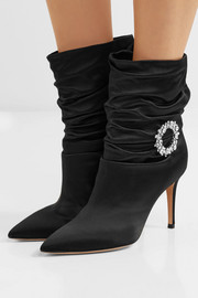 Gianvito Rossi Mae 85 embellished ruched satin ankle boots