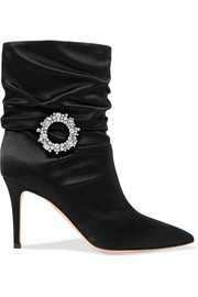Mae 85 embellished ruched satin ankle boots