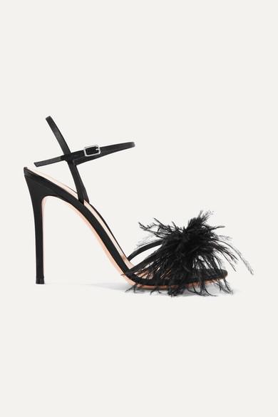 9ec1b21f0e Gianvito Rossi | 95 feather-trimmed satin sandals | NET-A-PORTER.COM