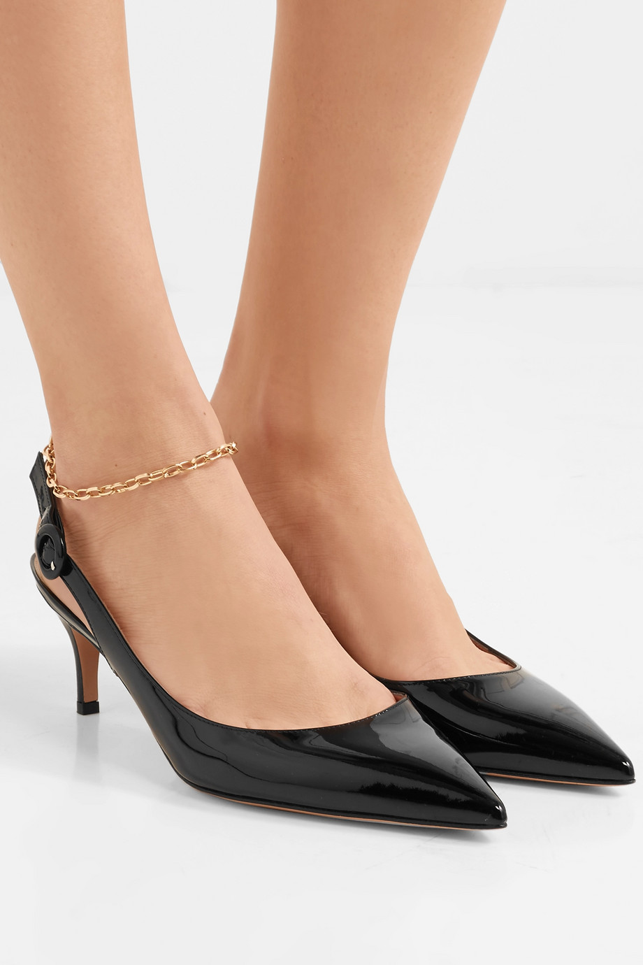 Gianvito Rossi Anna 55 patent-leather slingback pumps