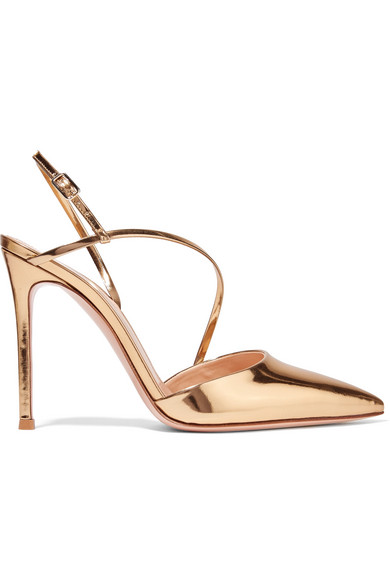 105 Metallic Patent-leather Pumps - Gold Gianvito Rossi g1v2K7Cth
