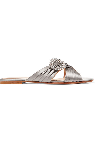 Crystal Embellished Satin Slides by Gianvito Rossi