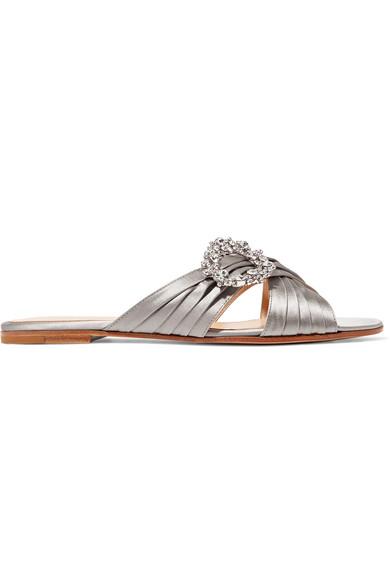 Crystal-Embellished Satin Slides, Silver