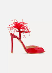 Gianvito Rossi 100 feather-trimmed patent-leather sandals