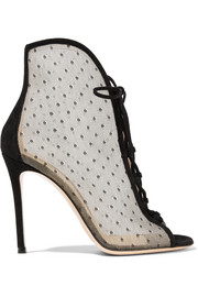 Gianvito Rossi 105 lace-up Swiss-dot mesh ankle boots