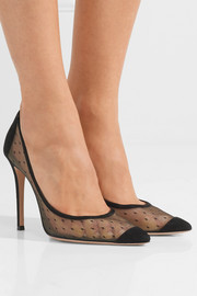 Gianvito Rossi 100 suede and point d'esprit pumps