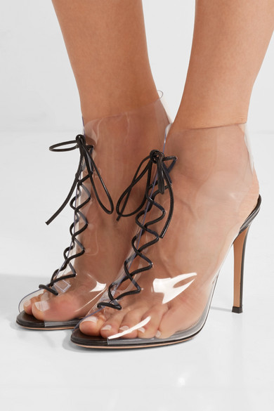 Gianvito Rossi Helmut Plexi 100 Lace Up Pvc And Leather