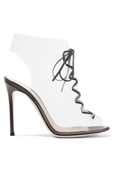 def26e7b620 Helmut Plexi 100 lace-up PVC and leather ankle boots