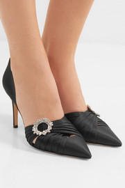 Gianvito Rossi 85 crystal-embellished satin pumps