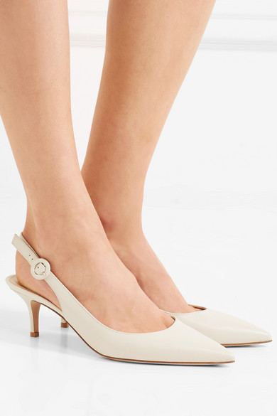 Anna 55 Leather Slingback Pumps - White Gianvito Rossi YKyaIf