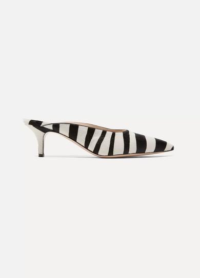 Gianvito Rossi - 55 Zebra-print Calf Hair Mules - Zebra print