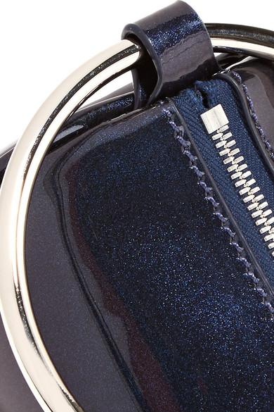 KARA Duffel Clutch aus Lackleder mit Glitter-Finish
