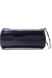 KARA Duffel glittered patent-leather clutch