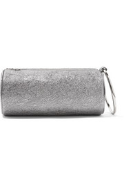 Duffel metallic textured-leather clutch