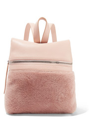 KARA Small textured-leather and shearling backpack