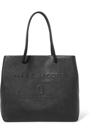 Embossed textured-leather tote