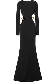 Haney Kate cutout embellished cady gown