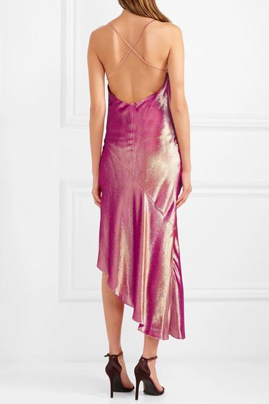 893c33d4 Haney | Goldie asymmetric metallic silk-blend dress | NET-A-PORTER.COM