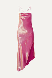Goldie asymmetric metallic silk-blend dress