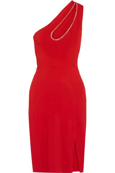 Haney Donna Kleid aus Stretch-Jersey mit Cut-out, Metallic-Besatz und asymmetrischer Schulterpartie