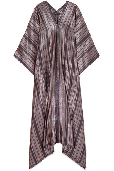 HANEY Estelle Metallic Striped Silk-Blend Kaftan in Black