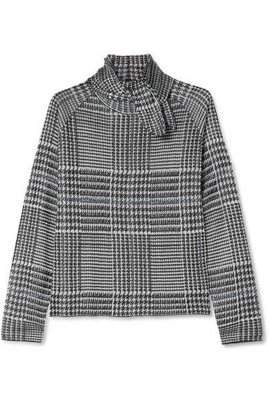 Paper London - Pussy-bow Prince Of Wales Checked Knitted Top - Gray