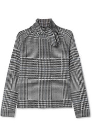 Pussy-bow  Prince of Wales checked knitted top