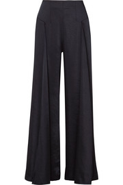 Paper London Lex washed-satin wide-leg pants