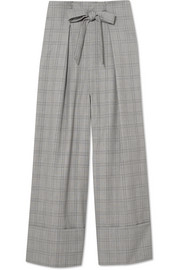 Twin Prince of Wales checked wool-blend wide-leg pants
