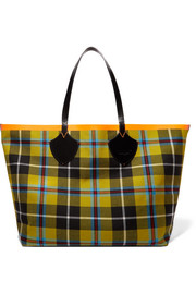 Burberry Reversible leather-trimmed tartan cotton-twill tote