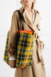Reversible leather-trimmed tartan cotton-twill tote
