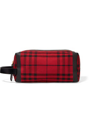 Burberry Leather-trimmed tartan cotton-canvas clutch